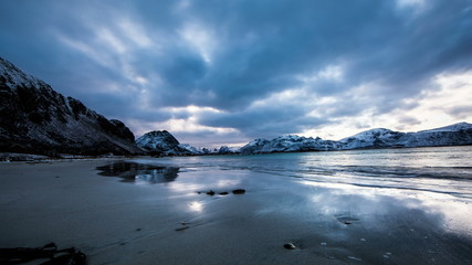 Sideways panning landscape of arctic beach in Norway