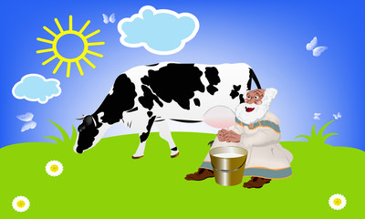Milkman and cow.Dairy fresh product