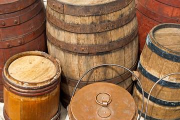 vintage wooden barrels