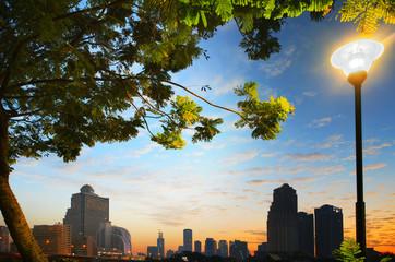 beautiful cityscape of heart of bangkok thailand scene through g