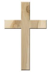 Kruzifix aus hellem Ahornholz, freigestellt