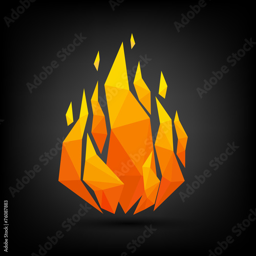 Abstract flame triangle geometric design.