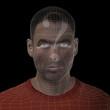 Conceptual wireframe mesh man face