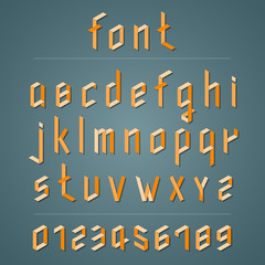 Retro 3D font. lowercase type.