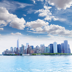 Manhattan New York skyline from NY bay US