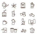 Fototapety outline brown simple coffee icons set eps10