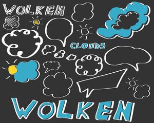 wolken sprechblasen tafel kreide