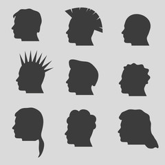 nine types of man hair styles head silhouettes eps10