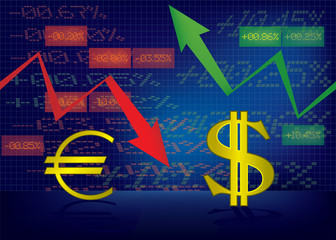 Dollar growth,Euro decline illustration