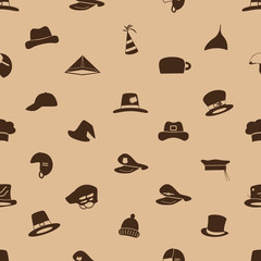 brown hats icons set seamless pattern eps10
