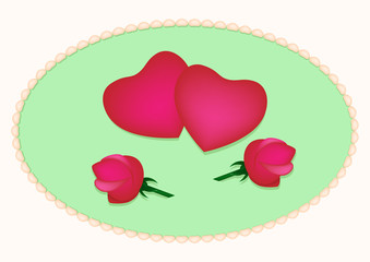 Card with hearts and roses