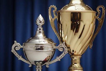 Winner award cups : gold and silver signs