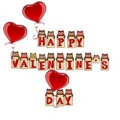 Happy Valentine's Day birds with balloon hearts