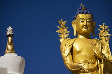 Golden Maitreya Buddha statue in Likir Monastery Ladakh