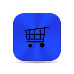Deep blue metal buttons with shopping cart icon