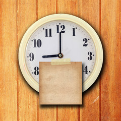 wall clock on the wood background