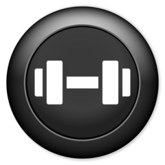 Barbell sign icon. Muscle lifting button.