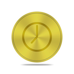 gold button with time icon