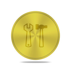 gold button with tools icon