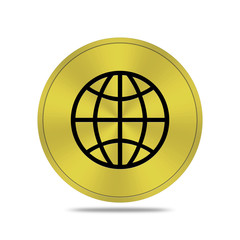 gold button with world icon