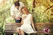 Leinwanddruck Bild - Man making propose to his girlfriend