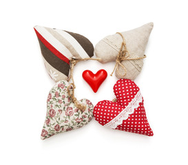 Group of beautiful valentine hearts on a white background