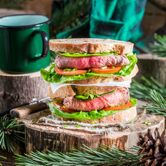 Coffee and homemade sandwich for woodcutter
