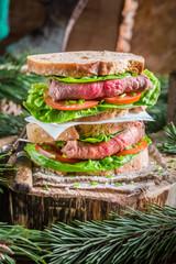 Meat sandwich for breakfast