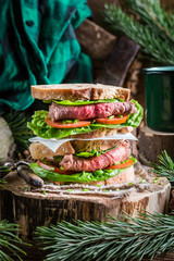 Meaty homemade sandwich with vegetables