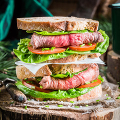 Tasty homemade sandwich with ham and vegetables