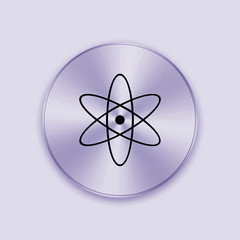 Purple metal button with nuclear icon