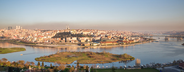 Istanbul from Eyüp cemetery and golden horn with meander, Turkey