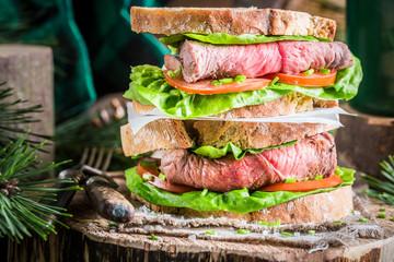 Homemade big sandwich with beef