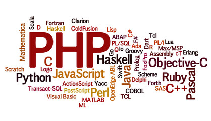 Cloud containing programming languages, PHP emphasized