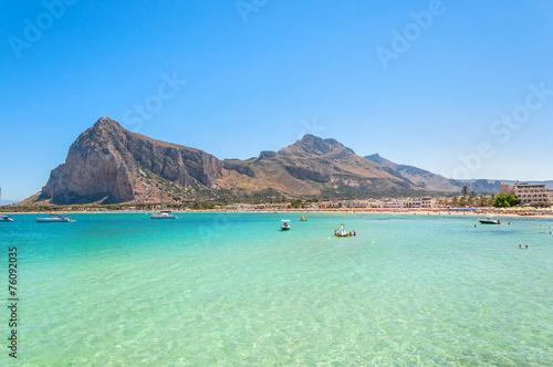 Beach and Mediterranean sea in San Vito Lo Capo, Sicily, Italy