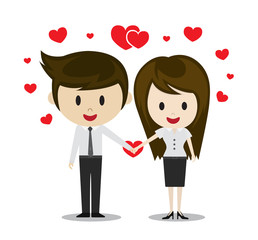 Cute couple in love holding hands, cartoon characters vector