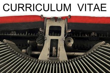 Curriculum vitae tapé à la machine à écrire