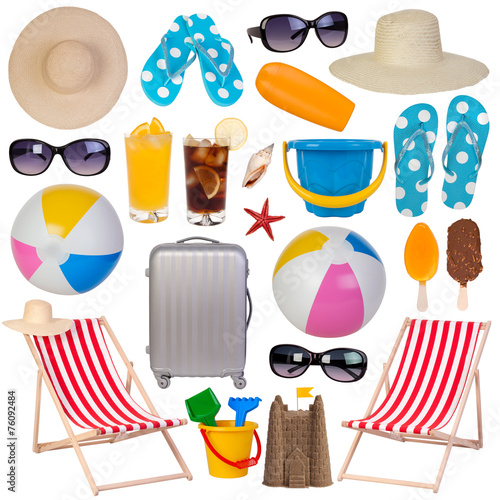 Summer items collection isolated on white - 76092484