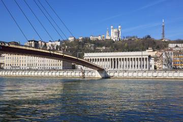 Horizontal view of Saone river at Lyon