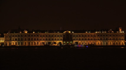 The Hermitage in St. Petersburg. White night. 4K.