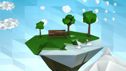 Low poly land with park and lake