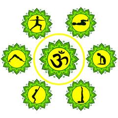 Silhouettes in yoga poses in mandalas, om symbol
