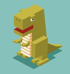 T-Rex. 3D Pixelate