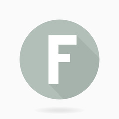 Letter F Vector White Icon With Flat Design