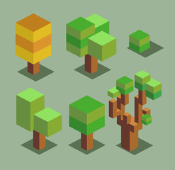 Trees. 3D Pixelate