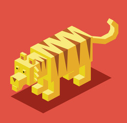 Golden Tiger. 3D Pixelate