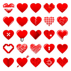 25 Red Hearts Icons Set