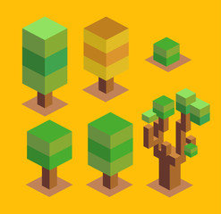 Trees Set. 3D Pixelate