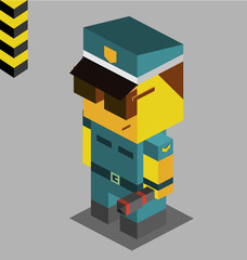 Police officer. 3D Pixelate