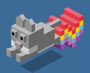 Nyan Cat 3D Pixelate